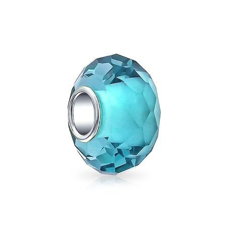 Bling Jewelry 925 Silver Simulated Aquamarine Faceted Glass Bead Charm