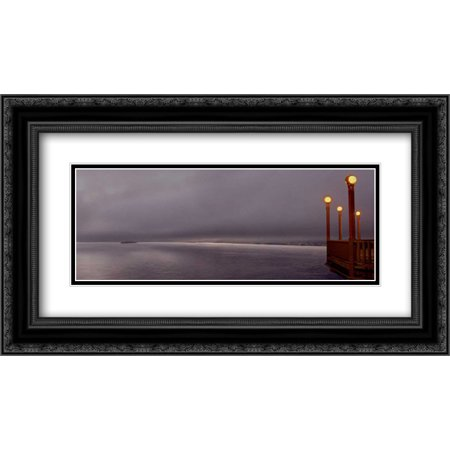 Golden Gate Bridge Pano - 128 2x Matted 24x14 Black Ornate Framed Art Print by Blaustein, Alan