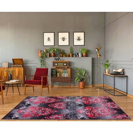 "Milan Red Black Damask Area Rug 3'9"" x 5'5"" - image 1 de 5"
