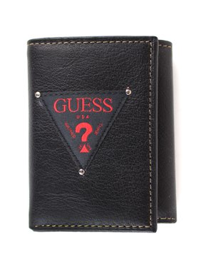 Guess Men's Leather Trifold Credit Card Wallet, Black