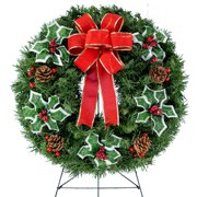 Sympathy Silks Christmas Memorial-Wreath Decoration - Variegated Holly and Berries with Hand-Tied Red Burlap Bow on 30 Inch Easel - Artificial Greenery Wreath - Fade Resistant