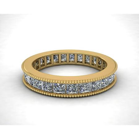 Natural 2.70Ct Princess Cut Diamond Channel Set Milgrain Women