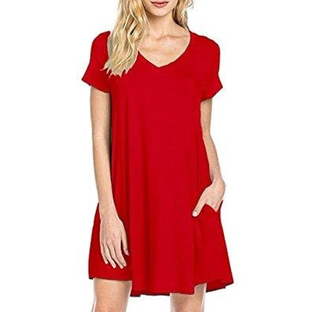 f4b92e7bb58 NewYouDirect - T Shirt Dress NewYouDirect Womens Swing Tunic Tops Loose Fit  Comfy Flattering with Simple Pocket,Red,Medium - Walmart.com