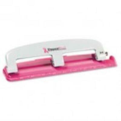 PaperPro 12-Sheet Capacity ProPunch Pink Ribbon Compact 3-Hole Punch,Rubber Base - Pink Sherbet Punch