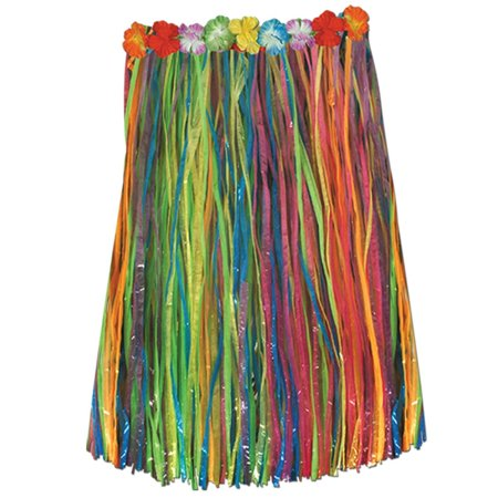 Club Pack of 12 Tropical Rainbow Colored Child Sized Artificial Grass Hula Skirt 27