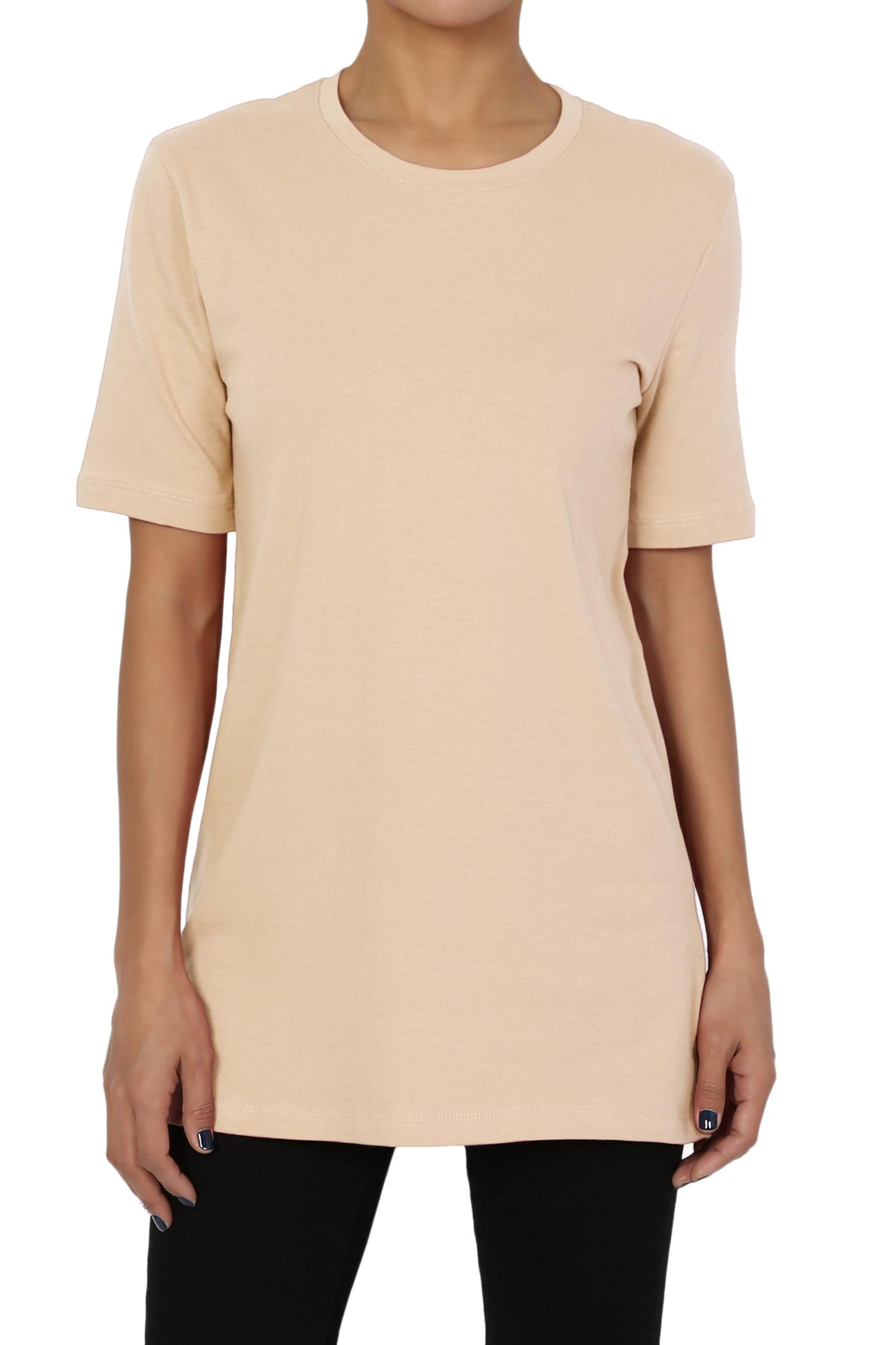 TheMogan Women's Basic Crew Neck Short Sleeve Relaxed Boyfriend Cotton T-Shirt