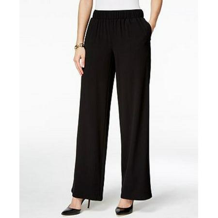 INC International Concepts Petite Women's  Wide-Leg Pants Black (P/P)