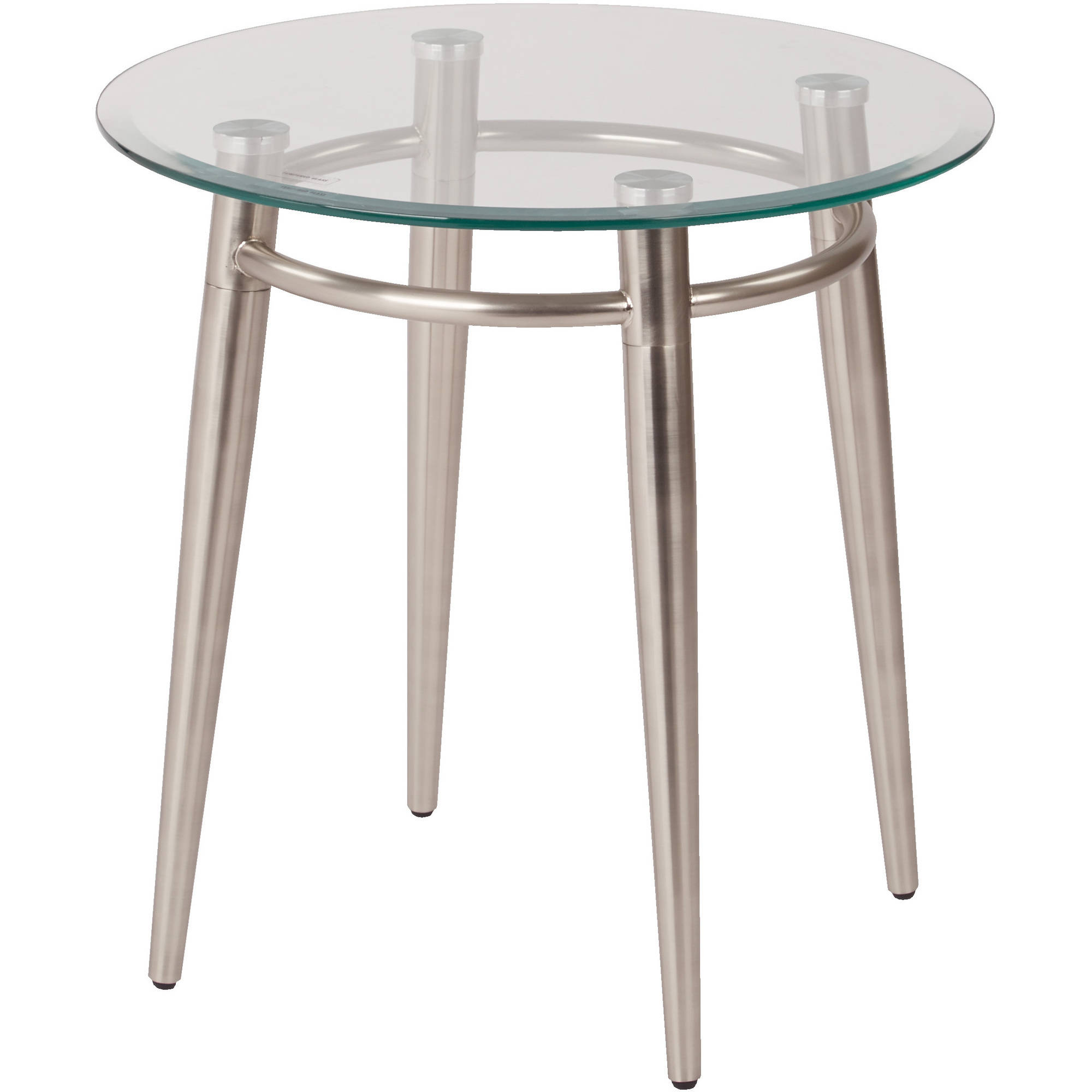 Ave Six Brooklyn Round End Table, Nickel Brush/Clear Glass