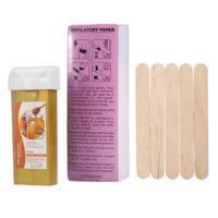 Lv. life Depilatory Hair Removal Wax Set 100g Wax + 100PCS Depilatory Paper + 5PCS Wodden Spatulas (Honey)