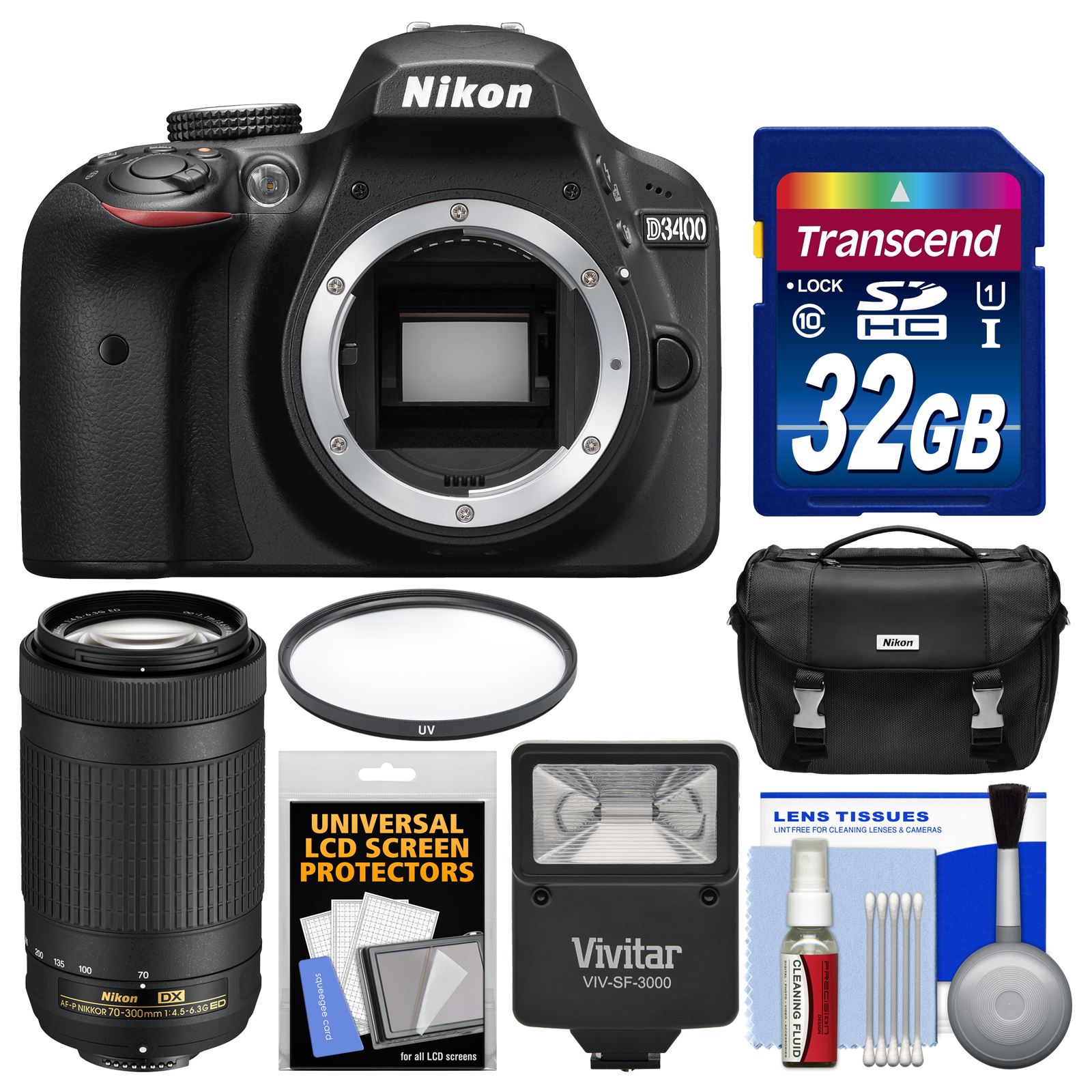 Nikon D3400 Digital SLR Camera Body (Black) - Refurbished with 70-300mm Lens + 32GB Card + Case + Flash + UV Filter + Kit