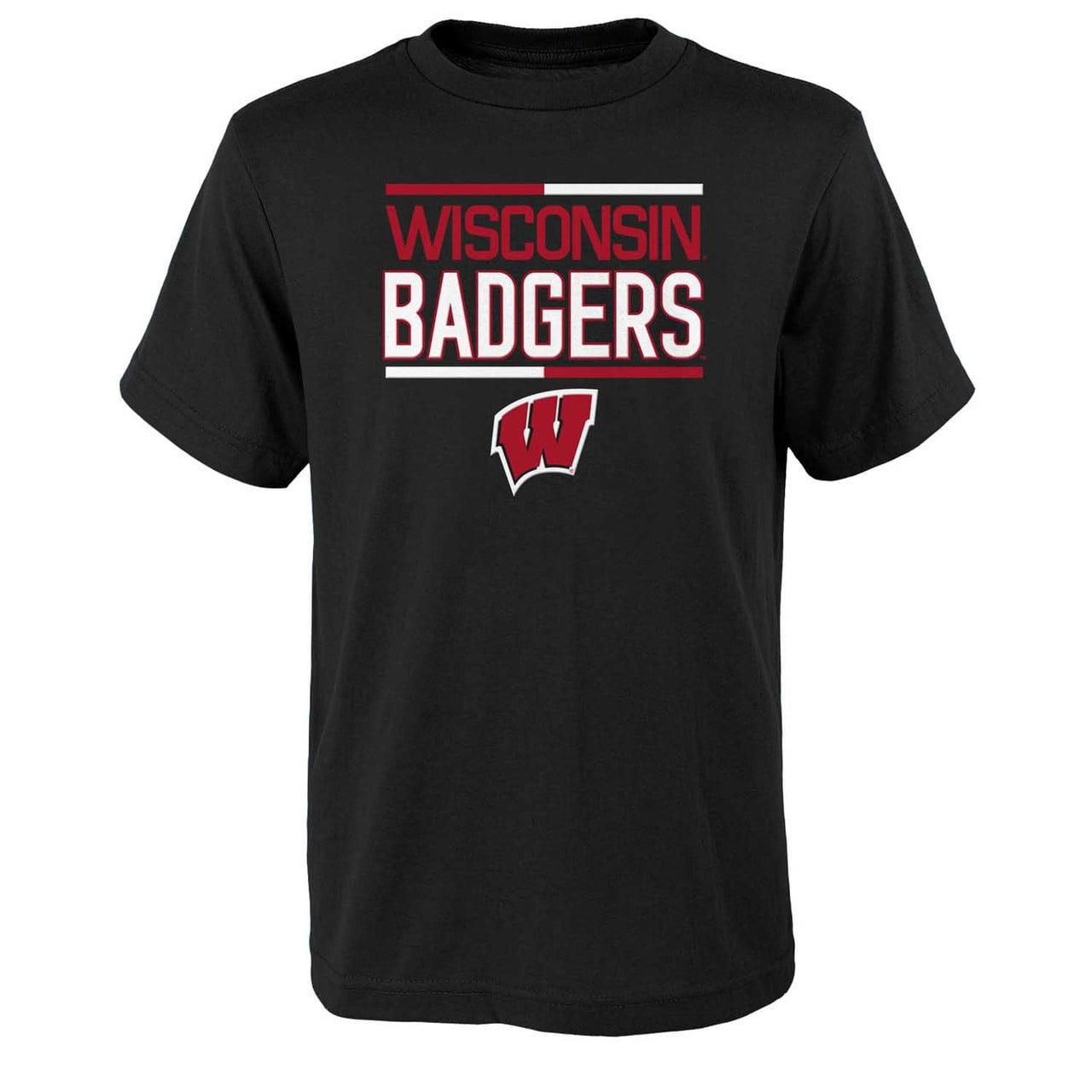 Wisconsin Badgers Youth NCAA Flag Runner T-Shirt  - Black
