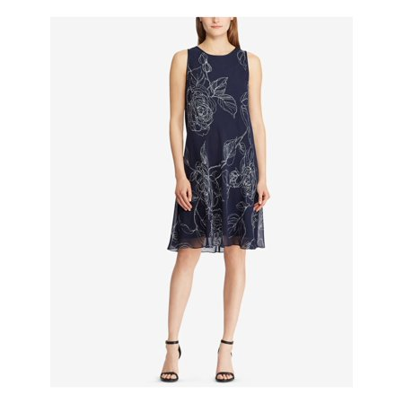 RALPH LAUREN Womens Black Swing Printed Sleeveless Jewel Neck Knee Length Party Dress Plus Size: 4