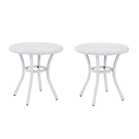 Crosley Furniture Palm Harbor Outdoor Backyard Wicker Side Table, White (2 Pack) ()