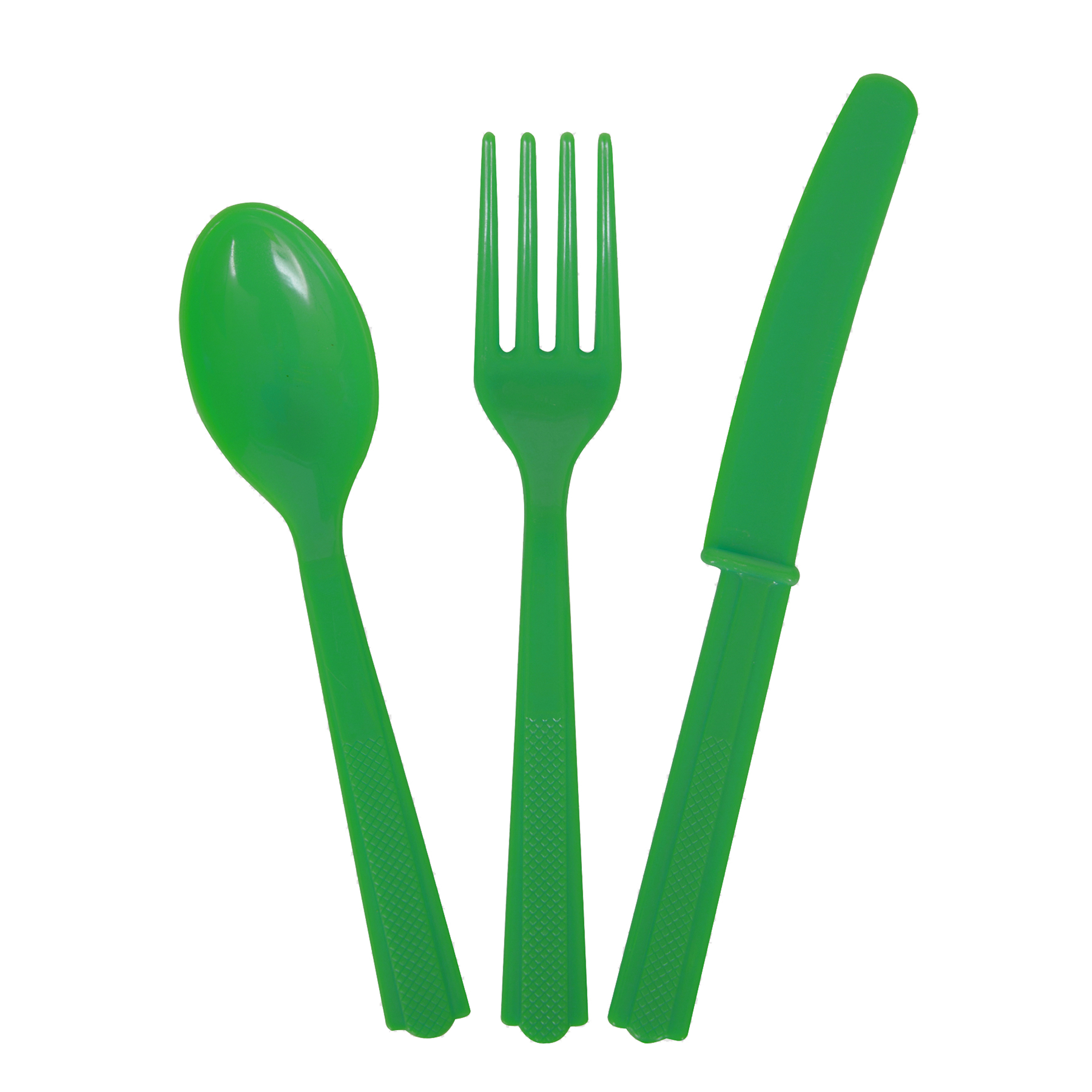 Emerald Green Plastic Utensils Set for 8 Guests (24pc)