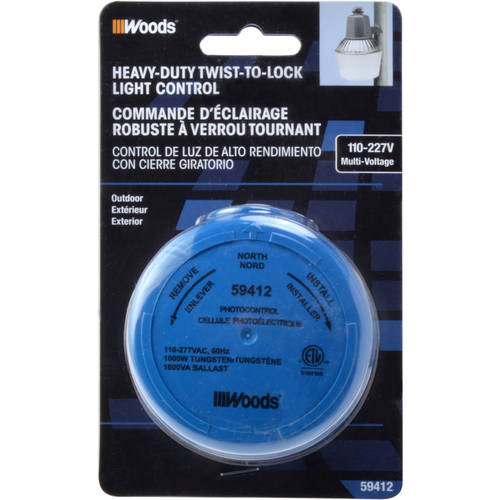 Woods 59412 Outdoor Heavy Dutytwist-To-Lock Photocontrol, 110-277V, Blue