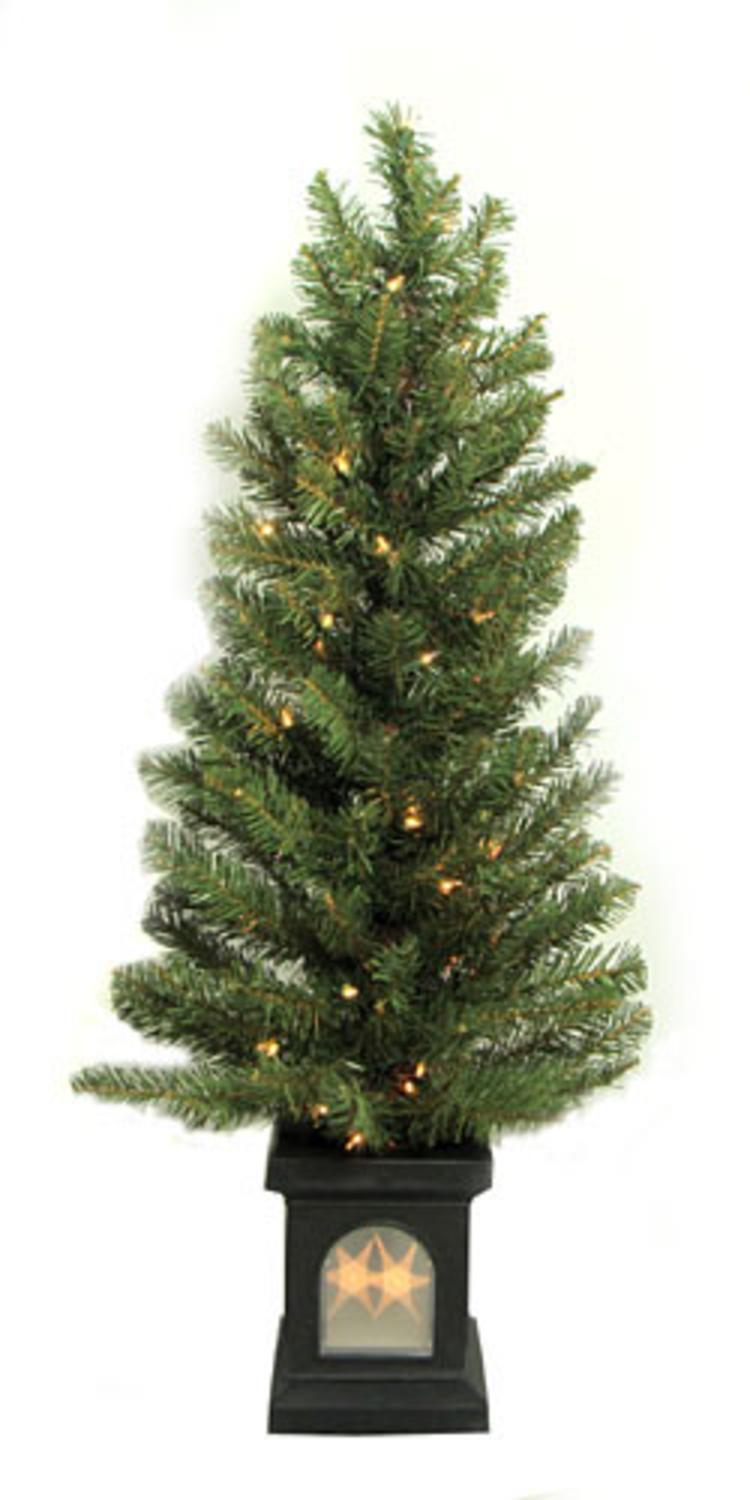 4' Potted Pre-Lit Virginia Pine Artificial Christmas Tree - Clear ...