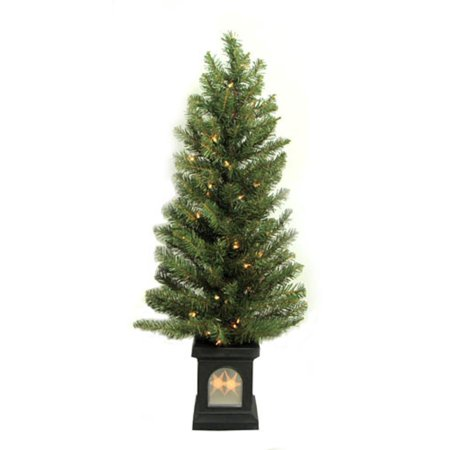 4 potted pre lit virginia pine artificial christmas tree clear lights - Potted Artificial Christmas Trees