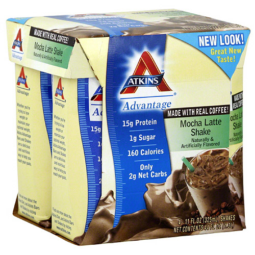 Atkins Mocha Latte Nutritional Shakes, 4 count, (Pack of 6)