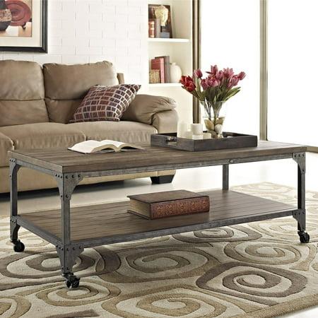 Ameriwood Home Cecil Wood Veneer Coffee Table, Rustic Medium Oak ()