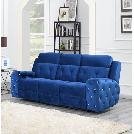 Prime Global Furniture Usa Jewel Embellished Blue Power Recline Sofa Alphanode Cool Chair Designs And Ideas Alphanodeonline