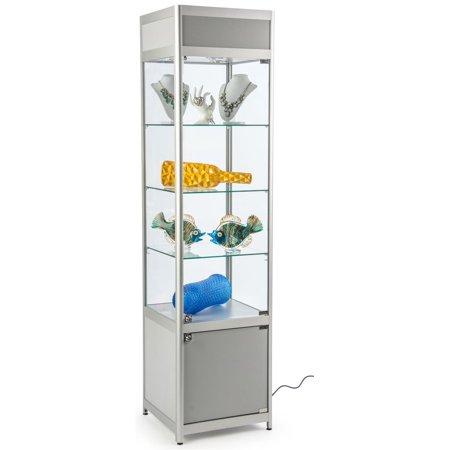 Peachy Displays2Go Glass Display Case Cabinet Base Locking Door Adjustable Shelves 3 Silver Sctwrcolsv Download Free Architecture Designs Embacsunscenecom