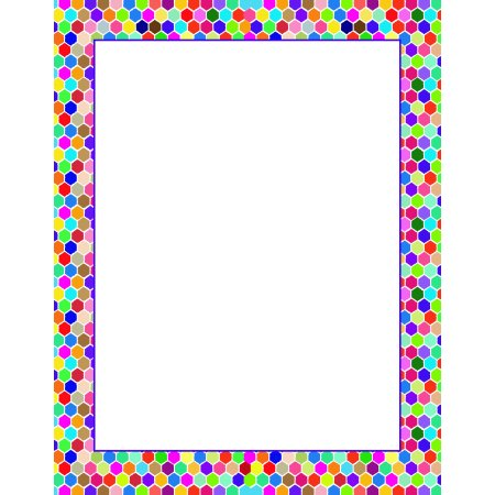 Colorful Hexagon Border Letterhead Stationery - 60 Sheets Per stationery Pack - B6516