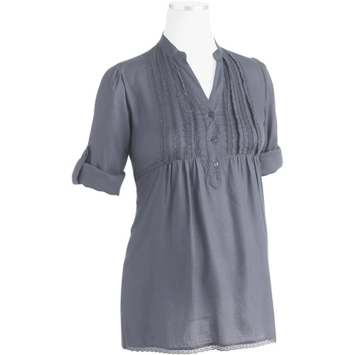 Maternity Woven Ruffled Empire Top with Lace and Beading Embellishments