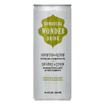 Kombucha Wonder Drink Organic Sparkling Fermented Tea Green Tea & Lemon -- 8.4 fl oz