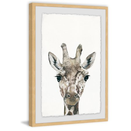 Cheeky Giraffe Framed Painting Print
