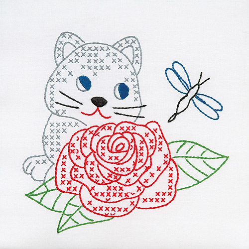 "Jack Dempsey Kitten And Rose Stamped White Quilt Blocks, 9"" x 9"""