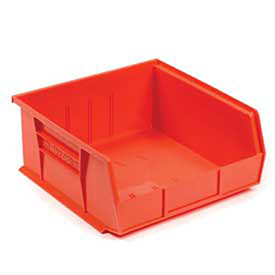 """Plastic Stacking Bin, 16-1/2""""W x 10-7/8""""D x 5""""H, Red, Lot of 6"""