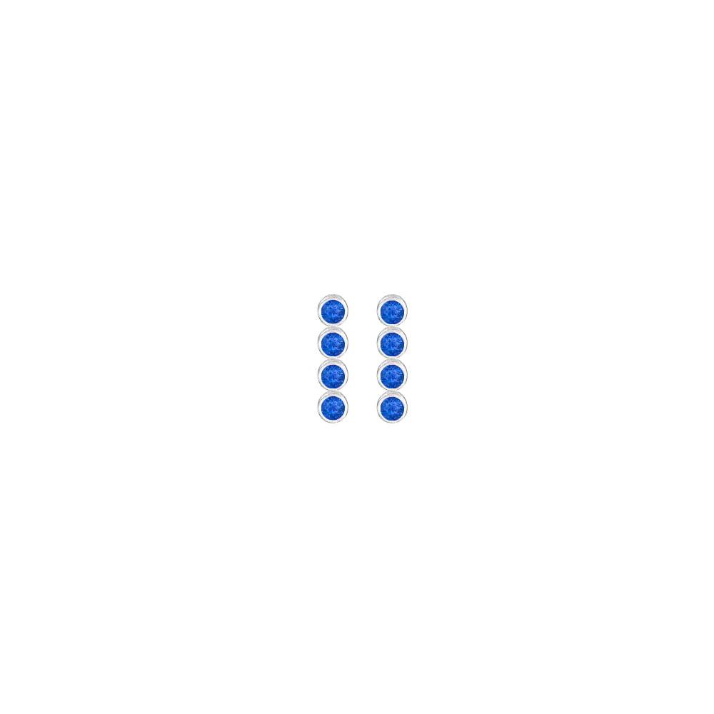 Created Blue Sapphire Drop Earrings in Bezel Set 925 sterling silver Ten Carat Total Gem Weight - image 3 de 3