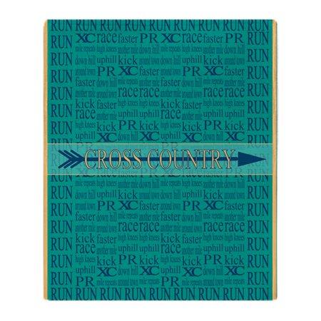 CafePress - Cross Country Running Collage Blue - Soft Fleece Throw Blanket, 50
