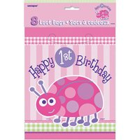 First Birthday Ladybug Favor Bags, 8pk
