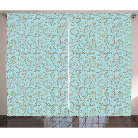 Brown And Blue Curtains 2 Panels Set Swirling Tree Branches With Leaves Scroll Style Victorian Window D For Living Room Bedroom 108w X 84l