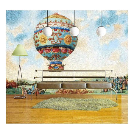 wall26 - Illustration - Hot Air Balloon Illustration - Removable Wall Mural | Self-Adhesive Large Wallpaper - 66x96 inches Air Force Wallpaper