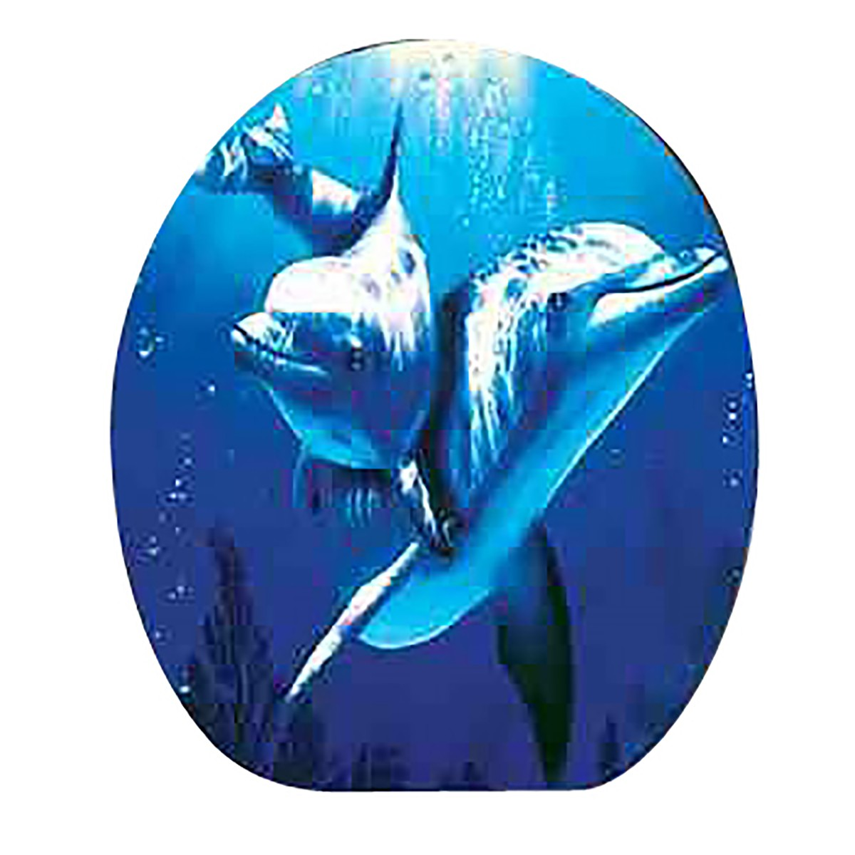 Renovator's Supply Dolphin Ocean Elongated Toilet Seat with Chrome Hinge