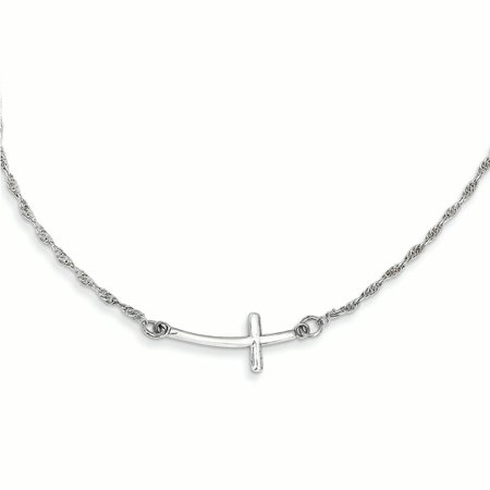 Small Charm Necklace (925 Sterling Silver Small Sideways Curved Cross Religious Chain Necklace Pendant Charm Crucifix For)