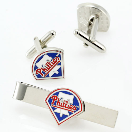 Philadelphia Phillies Cufflinks - Philadelphia Phillies Silvertone Team Logo Tie Clip & Cufflinks Set - No Size