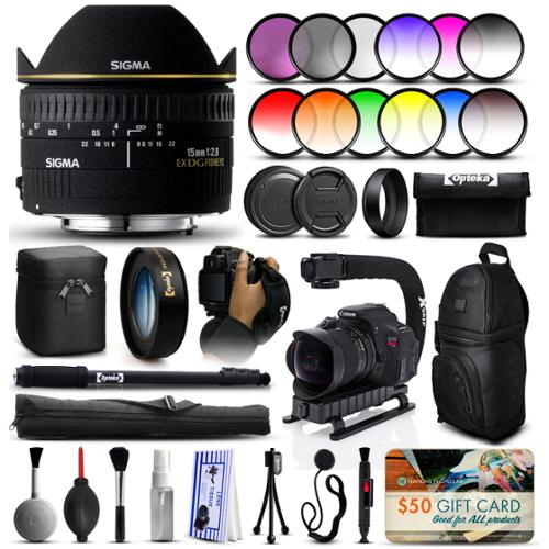 "Sigma 15mm F2.8 EX DG Fisheye Lens for Nikon (476306) + 12 Piece Filter Set + 10x Macro Diopter + Action Handle + Backpack + 67"" Monopod + Cleaning Kit + Dust Blower + $50 Gift Card + More"