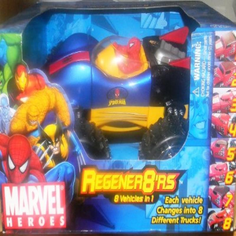 "SPIDER-MAN SPIDERMAN Regener8""rs EACH VEHICLE CHANGES INTO 8 DIFFERENT MODELS"