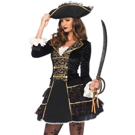 Leg Avenue Adult High Seas Pirate Captain 2-Piece Costume](Female Pirate Costume Makeup)