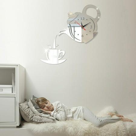 DIY Teapot Shape Acrylic Mirror Surface Wall Clock Sticker Decoration - image 3 of 8