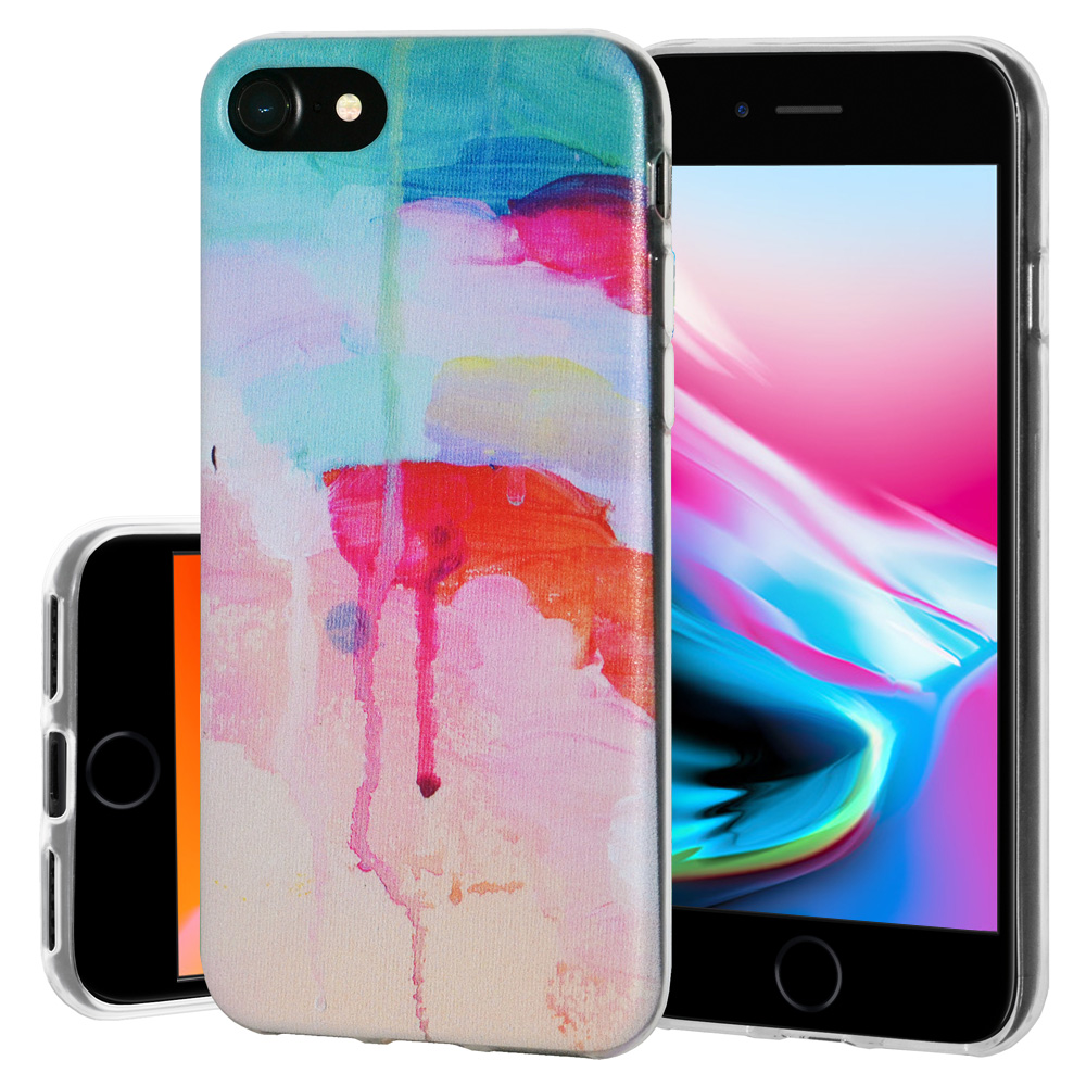 iPhone 8 Case, Soft Gel Skin TPU Cover Fashion Style Slim Designer Clear Back Cover - Abstract Watercolor Drip for iPhone 8 , Semi transparent, Flexible, Added Grip