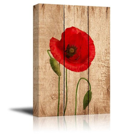 wall26 Canvas Prints Wall Art - Poppy Flower on Vintage Wood Background - 24