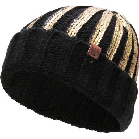 Gold Metallic Ribbed Beanie Thick Cuffed Ski Hat Skully Winter Ski Cap (Skully Halloween)