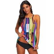 Women Swimwear Tankini Swimsuit Celebrity Multi Color Pattern Swimsuit for Women (multicolor, small)