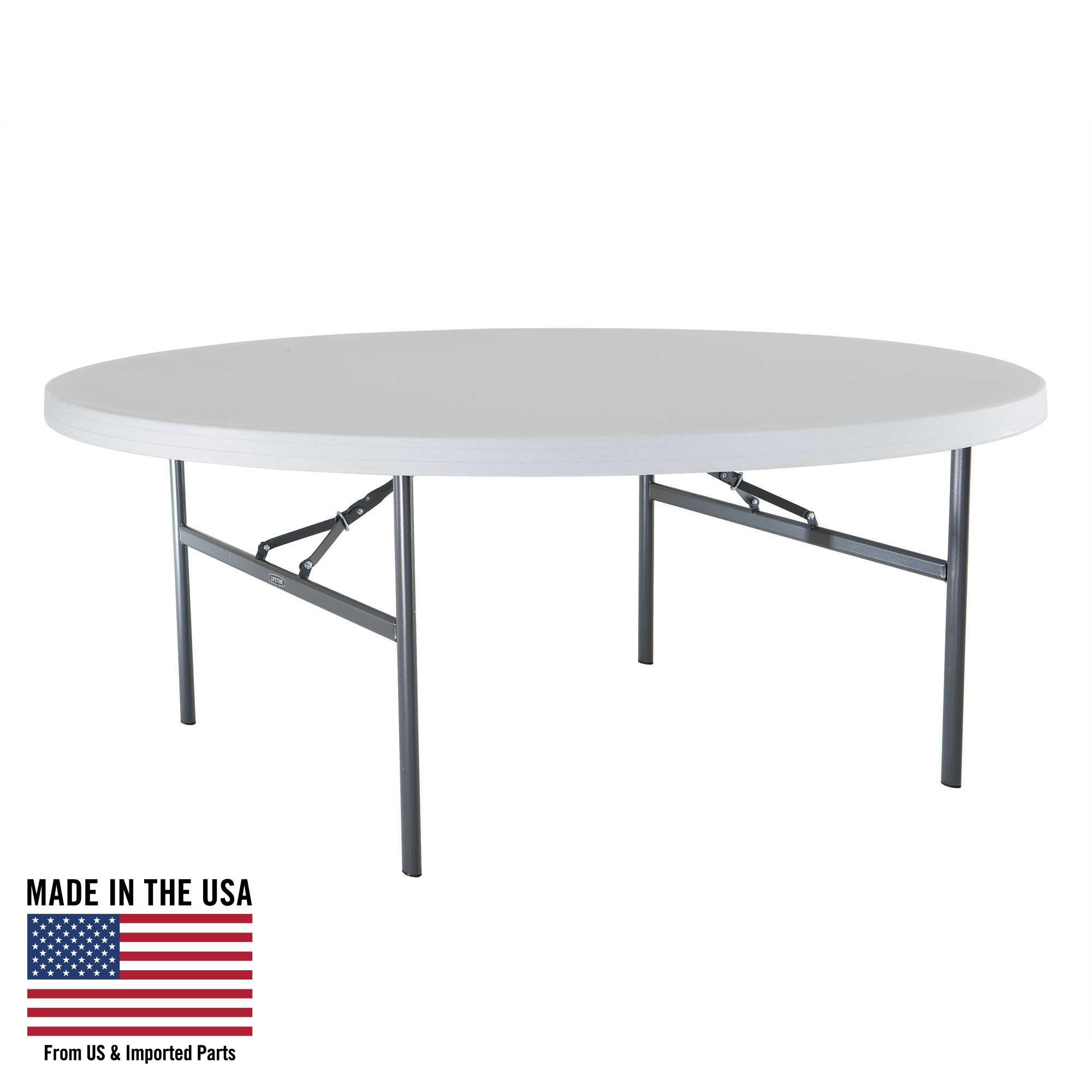 Lifetime White Granite 6 Foot Round Table With Folding Legs 22673 Walmart Com Walmart Com