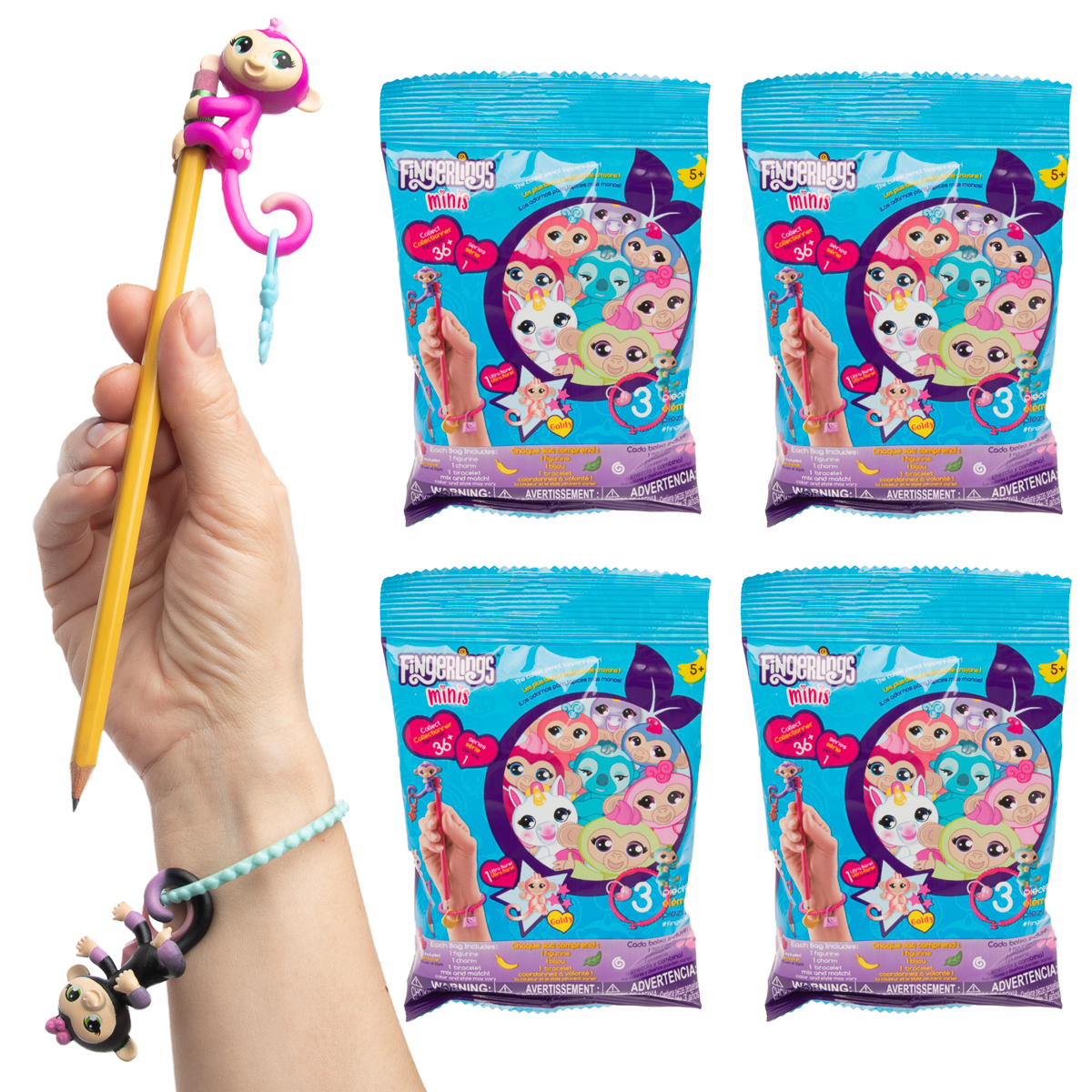 Wowwee (4 Pack) Fingerlings Blind Bags Pencil Toppers Charms Bracelets Bulk Series 1 Party Favors For Kids Toys