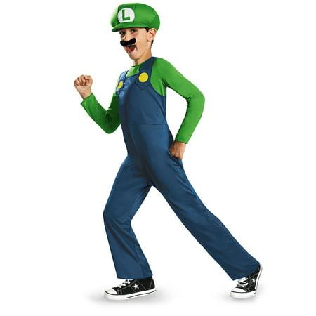 Boys Super Mario Costume (Nintendo's Super Mario Brothers Boys Classic Luigi Halloween)